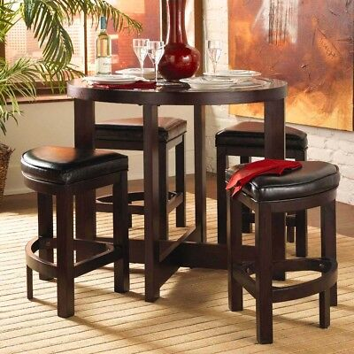 5PC URBAN ROUND DARK WALNUT WOOD GLASS TOP COUNTER TABLE w/ 4 WEDGE STOOLS SET ()