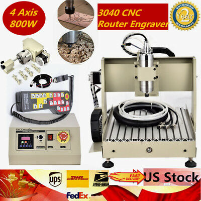3040 4 Axis Cnc Router Engraving Cutting Machine Ball Screw 800w Handwheel