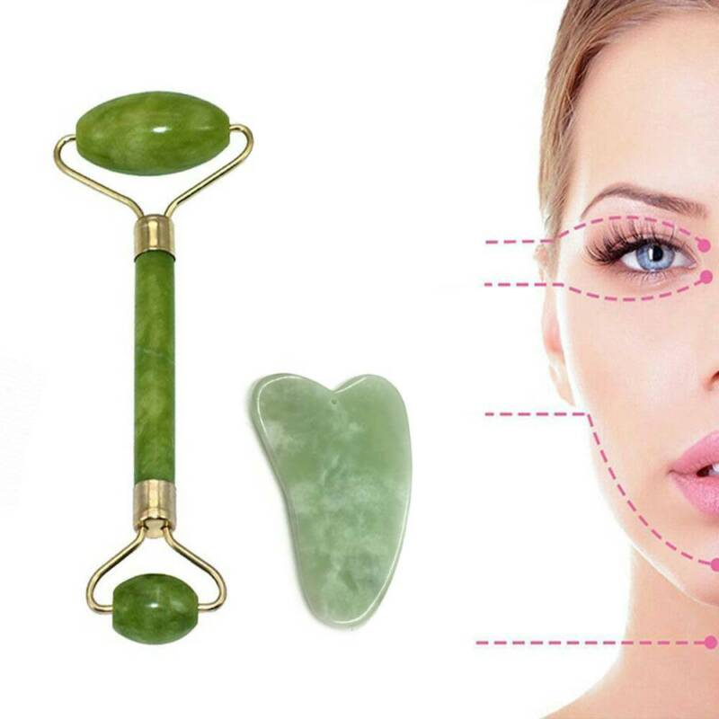 Jade Roller Gua Sha Set For Face Scraping Stone Tool Natural/Anti Aging Wrinkle