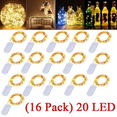 16 Pack 6.6ft 20 LEDs Battery Operated Mini LED Copper Wire String Fairy Lights