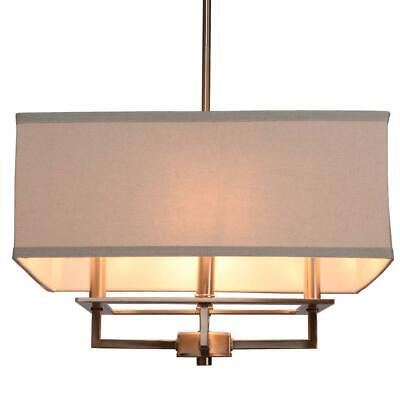Home Decorators  4-Lt Brushed Nickel Chandelier w/Square Light Gray Linen Shade