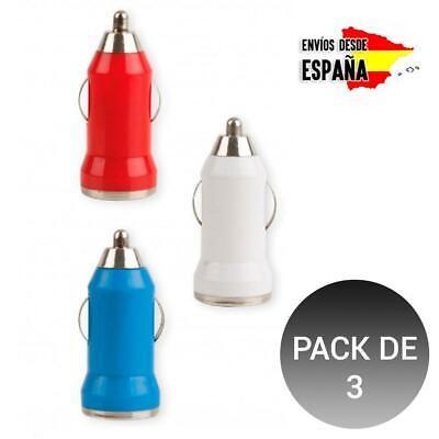 PACK de 3 Adaptador Cargador de coche Carga Universal 2.4A USB para...