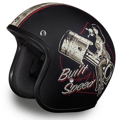 Daytona Helmets Cruiser Open Face - Built For Speed - Motorcycle Helmet DC6-BFS Black Cruiser Open Face Helmets