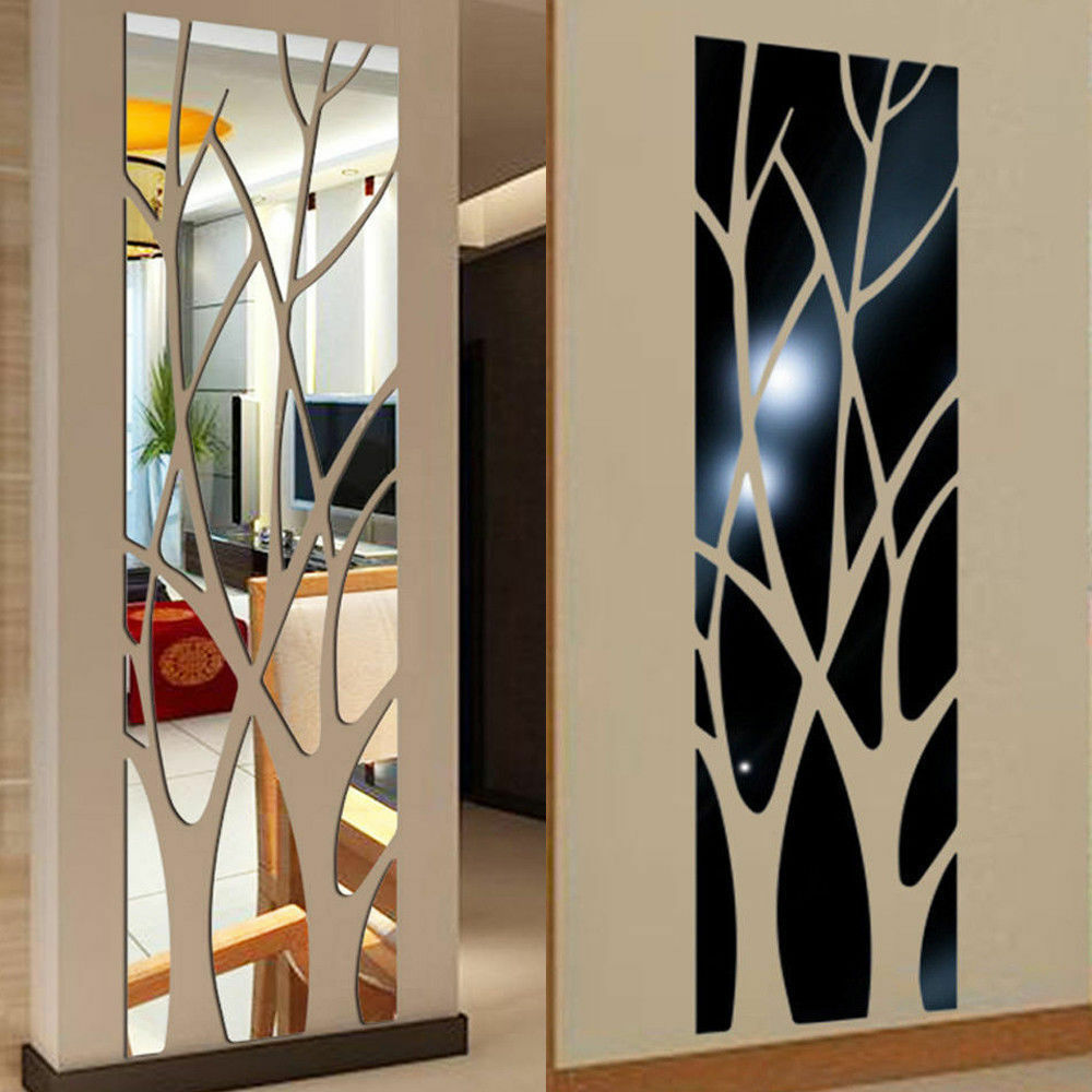Modern Tree Mirror Removable Decal Art Mural Wall Sticker Ho