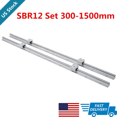 Us 2x Sbr12 Linear Rail Linear Guide Shaft Rod 300-1500mm 4x Sbr12uu Block
