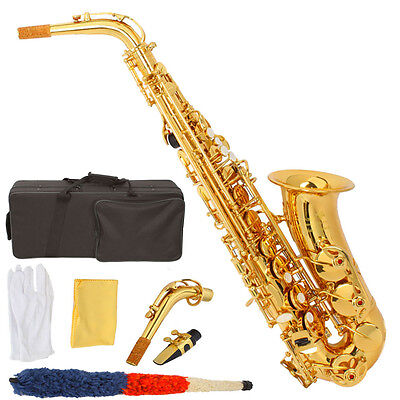 New Professional Paint Gold Alto Eb Sax Saxophone +Case+Mouthpieces on Rummage