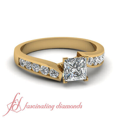 1 Carat GIA Certified Princess Cut And Round Diamond Channel Set Engagement Ring