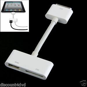hdtv dock connector to hdmi cable converter av adapter for ipad 2 3 iphone 4 4s ebay. Black Bedroom Furniture Sets. Home Design Ideas