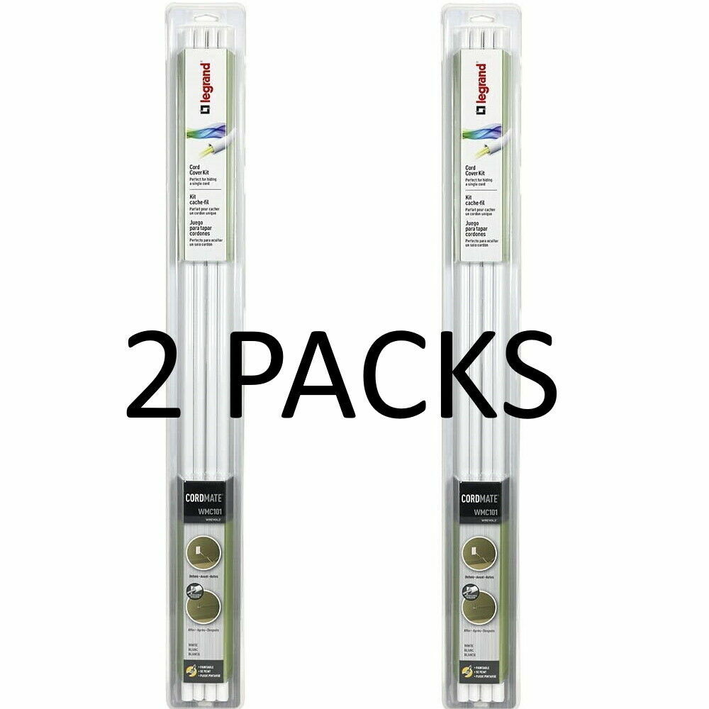 Legrand Wiremold CordMate I - White WMC101 Cord Cover Single Capacity 2 PACKS - $23.99