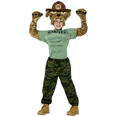 Military Soldier Chesty the Marine Bulldog Child Costume Size Medium 7-10](Kids Bulldog Costume)