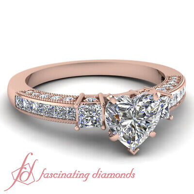 1.50 Carat Heart Shape Diamond Engagement Rings For Women With Round Accents GIA