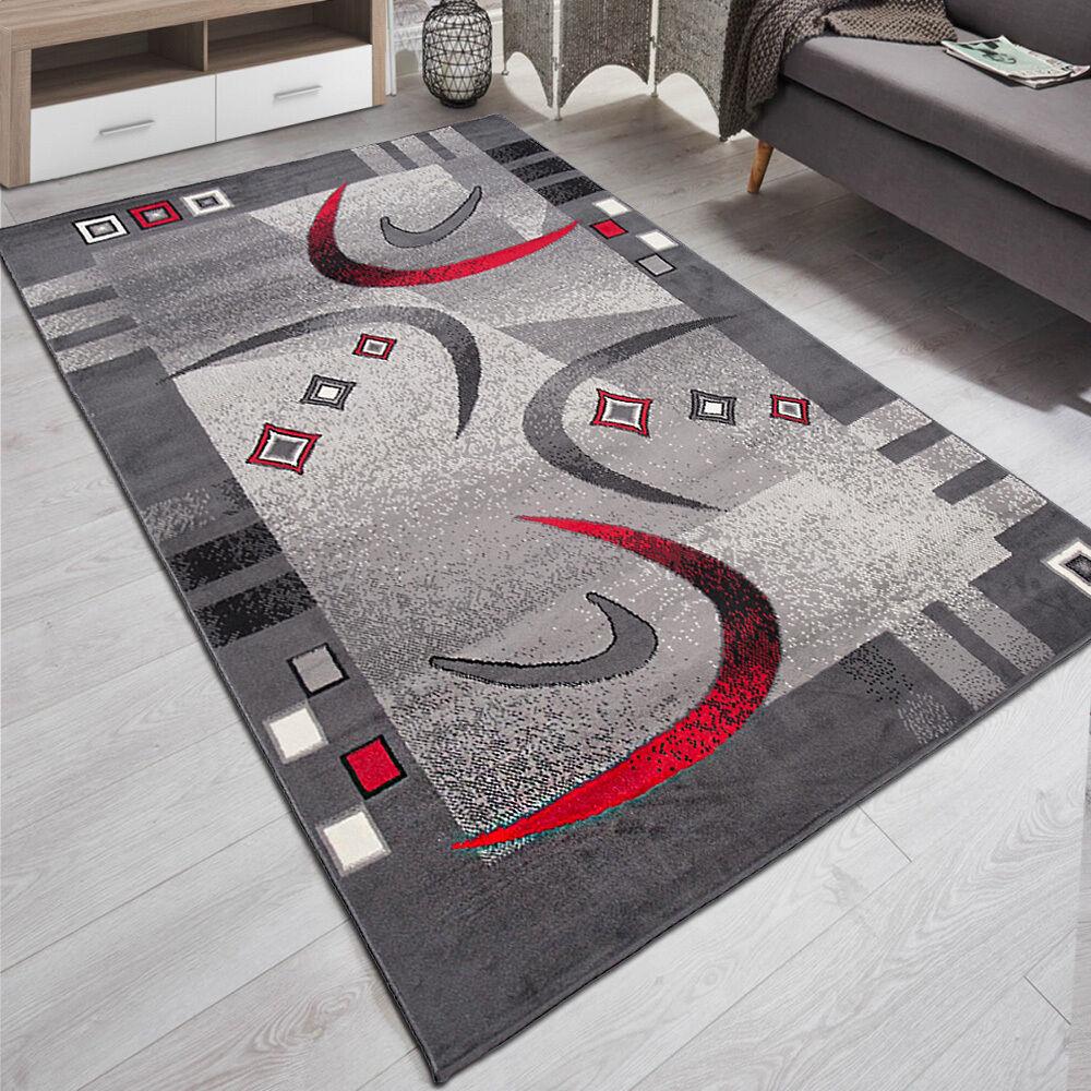 Teppich Wohnzimmer Modern Muster In Grau Rot | 180x250 | 200x300 | TOP