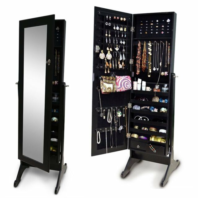 Beautiful Black Mirror Jewelry Armoire Cabinet Storage Floor Standing Box Necklace  Hooks