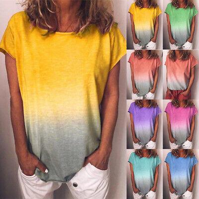 UK Plus Size Womens Summer Tunic Tops Ladies Short Sleeve Loose Blouse T Shirts