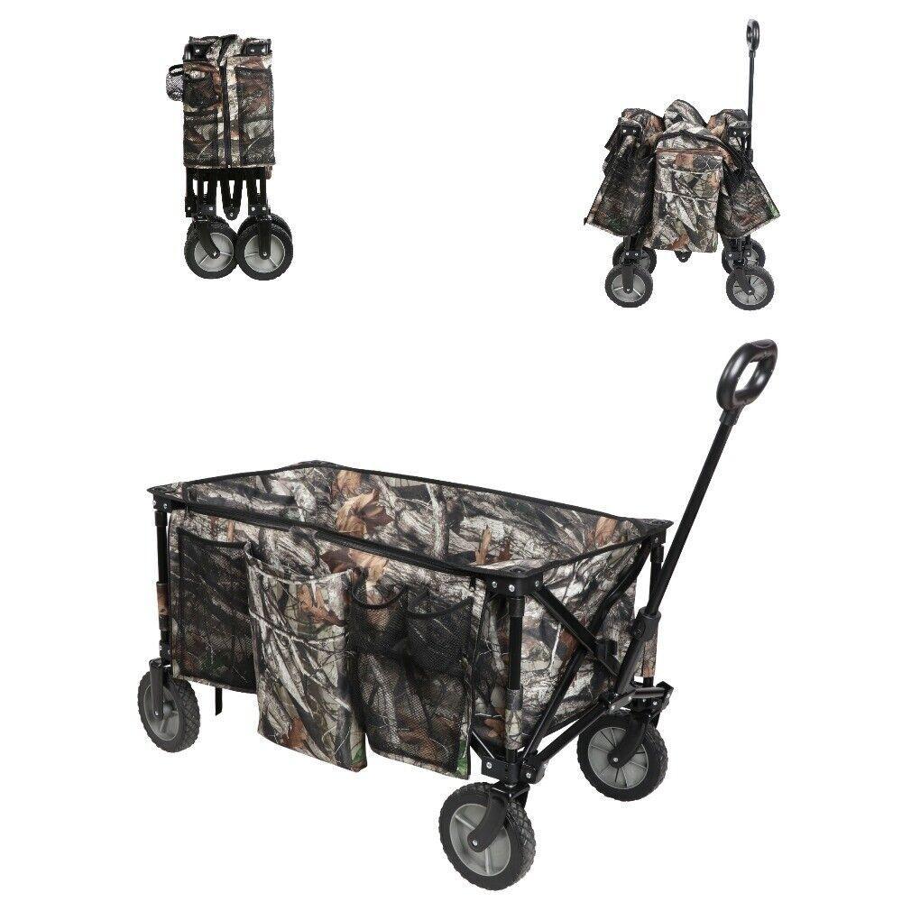Ozark Trail Camo Print Quad-Folding Wagon with Telescoping H