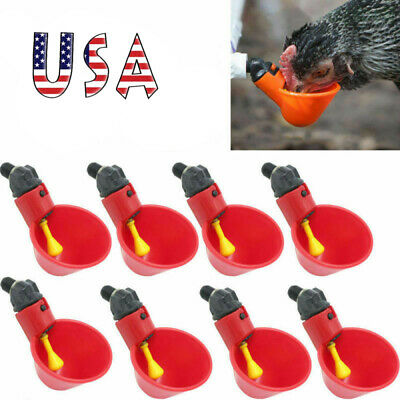 10pcs Poultry Water Drinking Cups- Chicken Hen Plastic Automatic Drinker Us New
