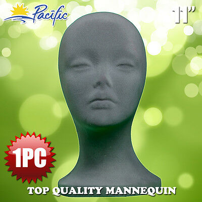 11 Styrofoam Foam Grey Velvet Mannequin Manikin Head Display Wig Hat Glasses