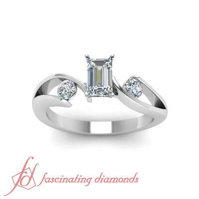 1.25 Ct Emerald Cut & Round Diamond GIA Certified Engagement Rings Size 4-10 1