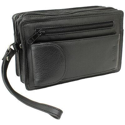 Edle Herren Handgelenktasche Herrentasche Damentasche Tasche schwarz Leder