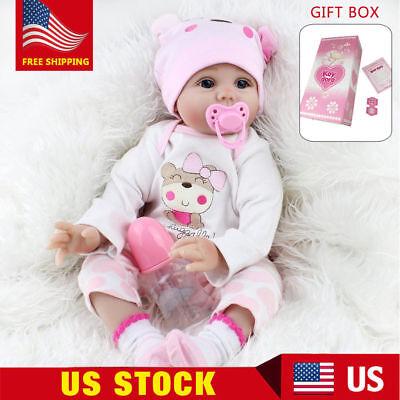 22'' Reborn Baby Dolls Lifelike Vinyl Silicone Newborn Girl Handmade Xmas Gift