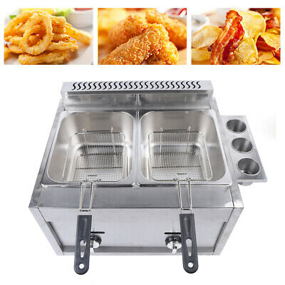 Commercial Countertop Gas Fryer Deep Fryer Propanelpg 2 Basket Stainless Steel