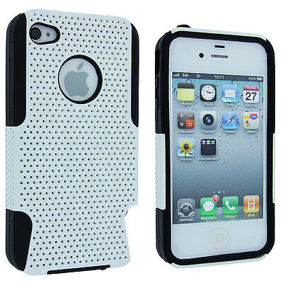 White Hybrid Hard Case Cover with Black Silicone Inner Case for iPhone 4 / 4S 4s White Hard Case