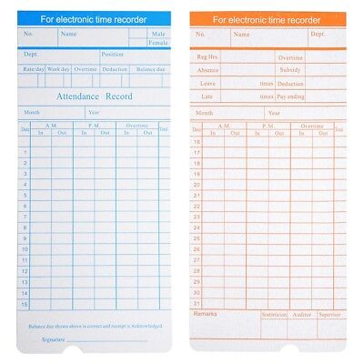 1000x Monthly Time Clock Cards Timecard For Employee Attendance Payroll Recorder