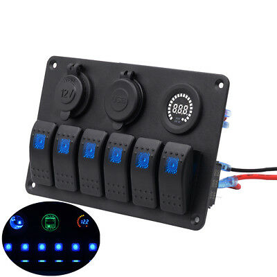 Car Boat 6 Gang Waterproof LED Rocker Switch Panel Circuit USB Plug Adapter Volt
