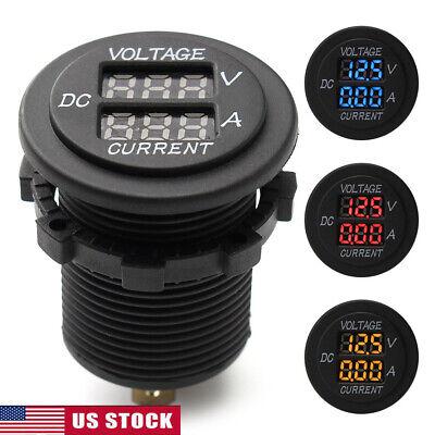 Us Car Dc 12-24v Dual Led Digital Display Voltmeter Ammeter Amp Volt Meter Gauge