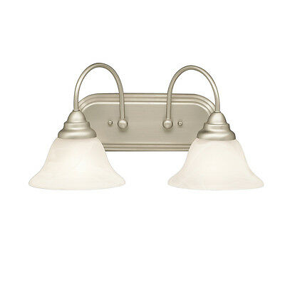 BRUSHED NICKEL AND ALABASTER SWIRL GLASS 2 LIGHT BATH WALL FIXTURE 18