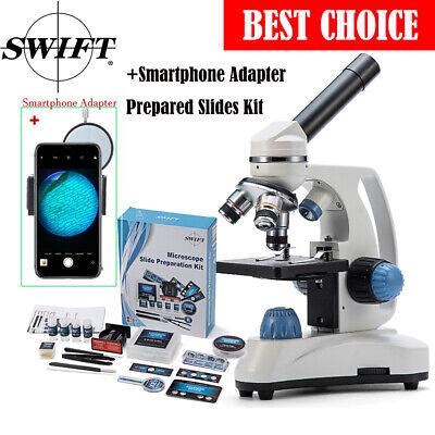 Swift Student Microscope Compound Dual Led Light Cordless Adapterslides Kits