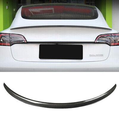For 2017-2019 Tesla Model 3 100% Real Carbon Fiber Tail Wing Rear Spoiler Trunk