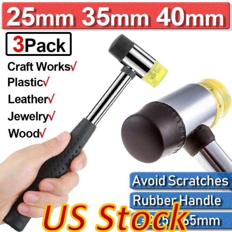 Us Double Faced Head Rubber Hammer Mallet 25mm 35mm 40mm For Jewellery Flooring