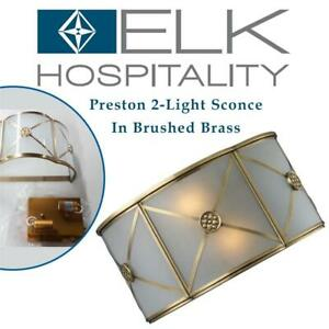 NEW Elk 22000/2 Preston 2-Light Sconce In Brushed Brass Condtion: New