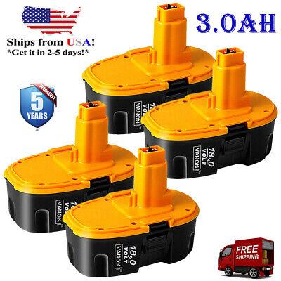 4-Replacement for Dewalt 18V Battery 18Volt 3.0Ah NI-CD DC9096 DW9095 Power Tool