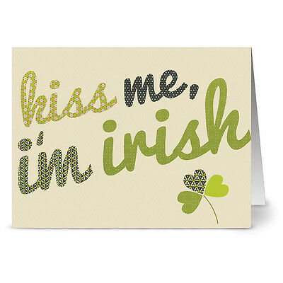 24 St. Patrick's Day Note Cards - Kiss Me, I'm Irish - Green Envs - Kiss Day Cards