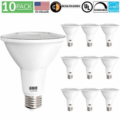 Sunco 10 Pack PAR30 Dusk to Dawn LED Light Bulb 11 Watt  400