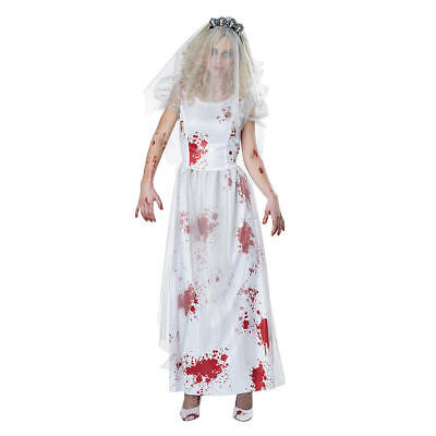 Zombie Wedding Dress Costume (Totally Ghoul  Zombie Bride Bridal Gown Dress Women's Halloween Costume  8-14)
