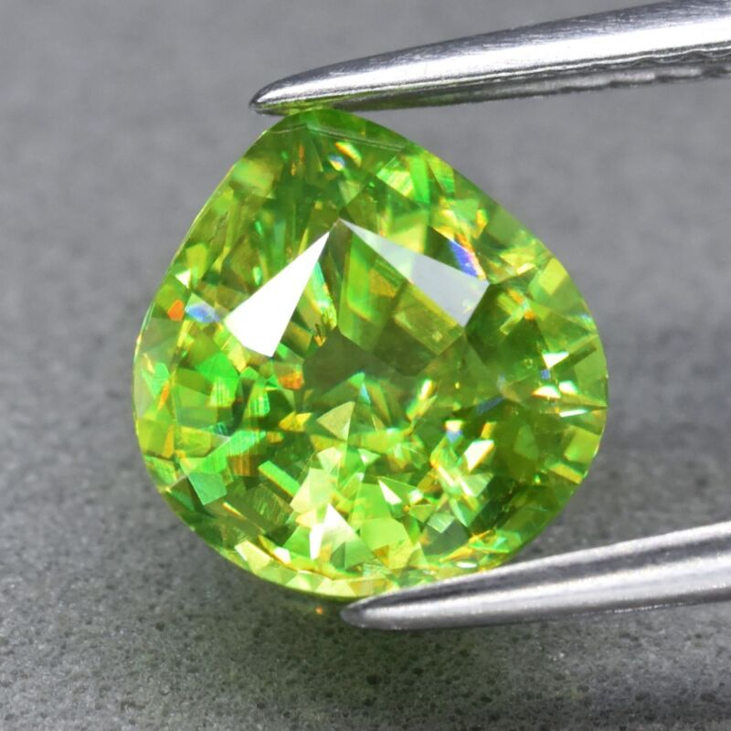 VVS 2.47ct 8.8x8mm Pear Natural Yellowish Green Sphene, Super Sparkles