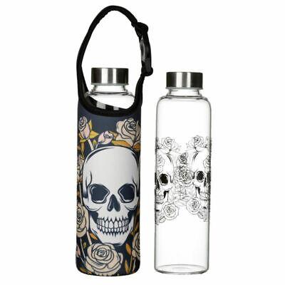 Calaveras Y Rosas Reutilizable Vidrio Agua Botella Con Manga y Asa