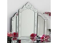 Etched Venetian dressing table mirror