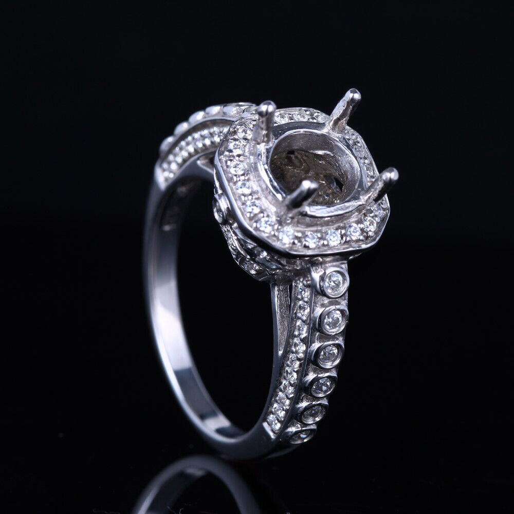Sterling Silver 925 Wedding Semi Mount Solitare Engagement Ring 7.5mm Round Cut