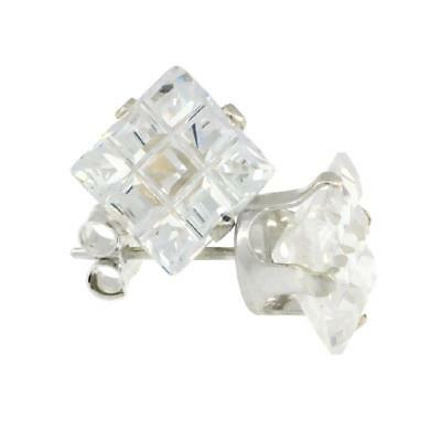 Sterling Silver Stud Earrings w/ Invisible Cut Square Shape CZ Stone, 4mm to 9mm 4mm Square Shaped Earring