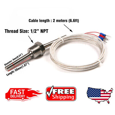 Us Rtd Pt100 Temperature Sensor Stainless Steel Probe 3 Wires 2m Cable -50200