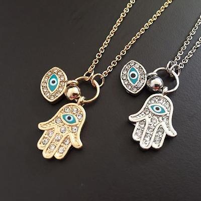 - Jewelry Charm Pendant Necklace Evil Eye Fatima Hand Hamsa Gold/Silver Plated