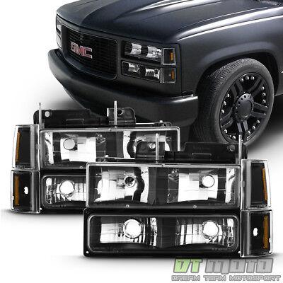 Black 1994-1998 GMC C/K Sierra Yukon Suburban Headlights+Bumper+Corner Lamps