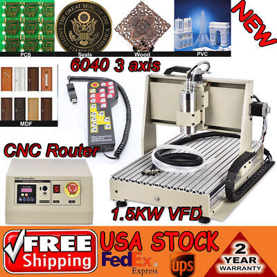 3axis Cnc Router 6040 Engraving Milling Woodworking Machine 1.5kw Controller Us