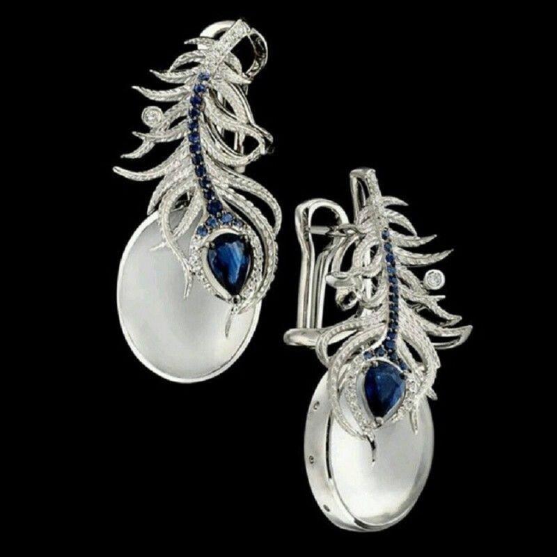 925 Silver Moonstone&Blue Sapphire Women Prom Jewelry Gift E