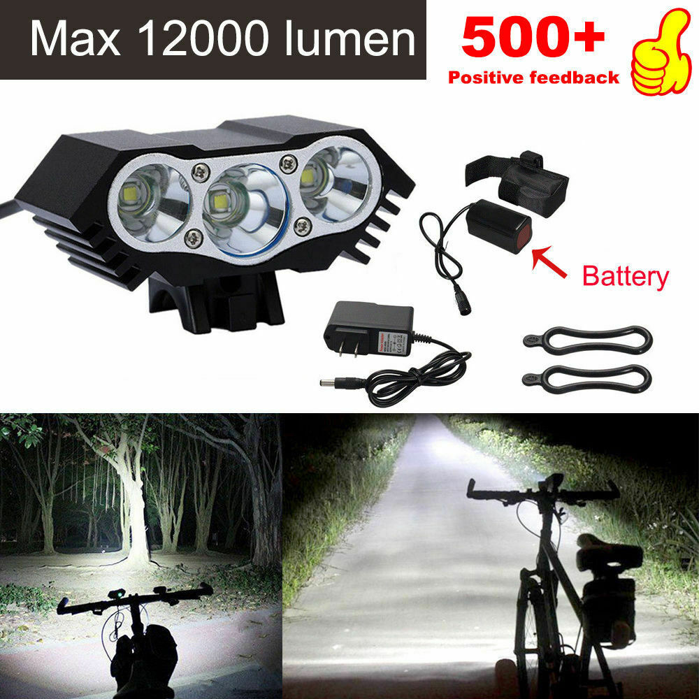 3 x CREE XM-L T6 LED Bicycle bike HeadLight Head Light Lamp Torch Flashlight US Bicycle Accessories