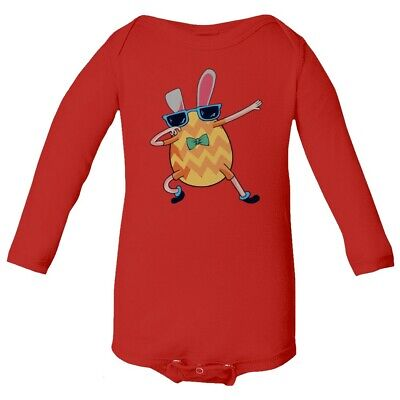 Easter Bunny Emoji (Funny Dabbing Emoji Bunny Easter Baby Long Sleeve)